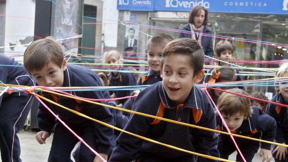 Children take the squares